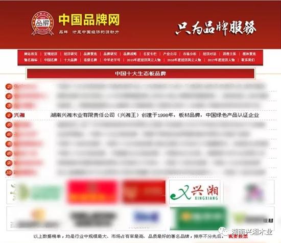 """热烈祝贺兴湘木业获得""""中国十大生态板品牌"""""""